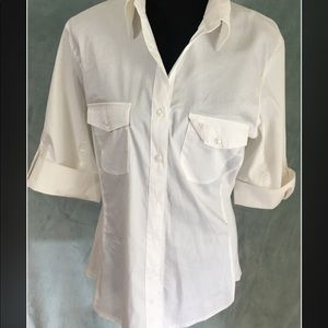 Larry Levine White Collared Blouse Size L